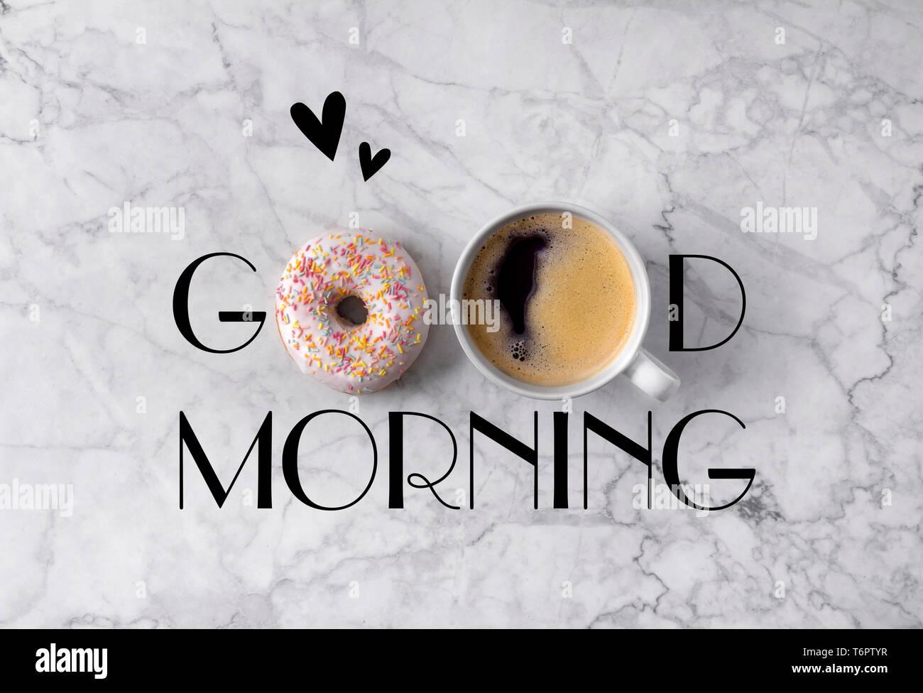 Guten Morgen Karte Mit Kaffee Stockfotos Guten Morgen