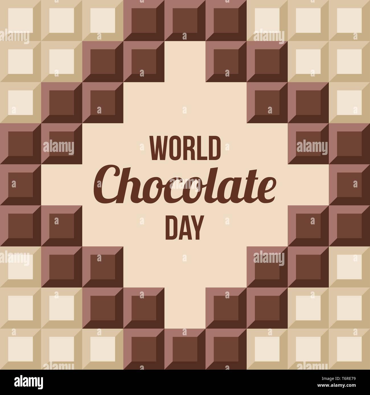 World Chocolate Tag. 11. Juli. ?hocolate bars mit Text drinnen. Design für Poster, Banner, Grußkarte. Nahtlose Hintergrund. Vector Farbe Abbildung: Stockbild