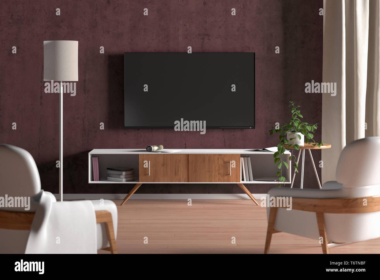 TV-Bildschirm auf die rote Wand in der modernen Wohnzimmer. 3D ...