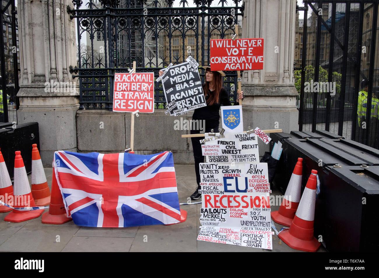 Pro Brexit Demonstrant außerhalb der Häuser, Westminster, London, Großbritannien. Stockbild