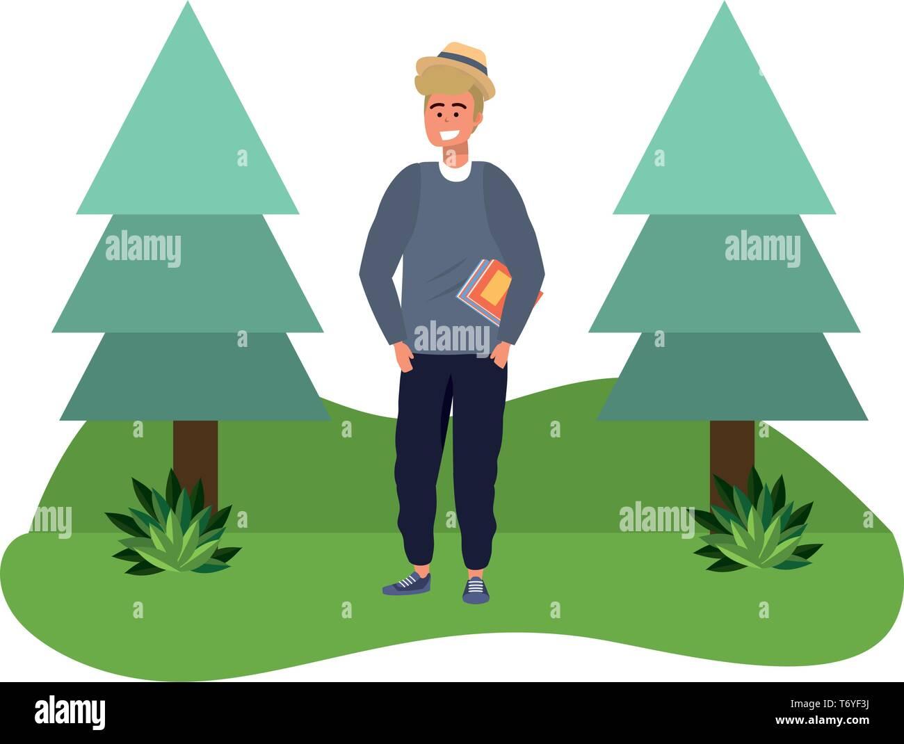Tausendjährige student blonder Mann holding Buch draußen lächelnd Gras und Bäume Natur Hintergrund Vector Illustration graphic design Stockbild