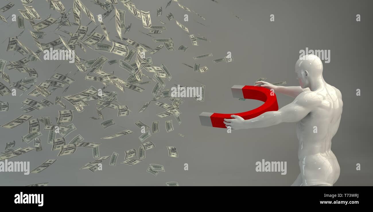 Erstellen von Gewinn oder Geld Gewinne Leicht mit Business Mann Stockbild