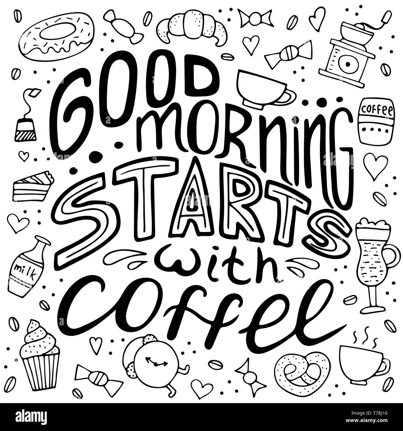 Handgezeichneten Schriftzug Guten Morgen Beginnt Mit