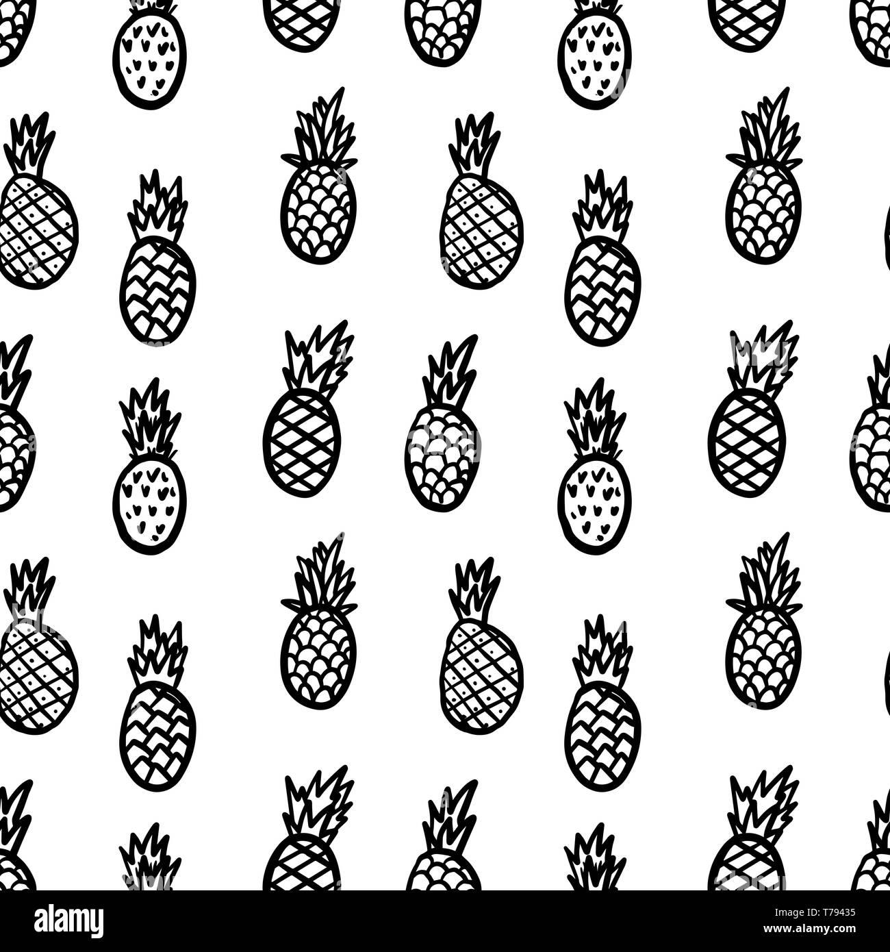 Nahtlose Muster mit Ananas gezeichnet. Design Element für Poster, Karten, Banner, Flyer. Vector Illustration Stock Vektor