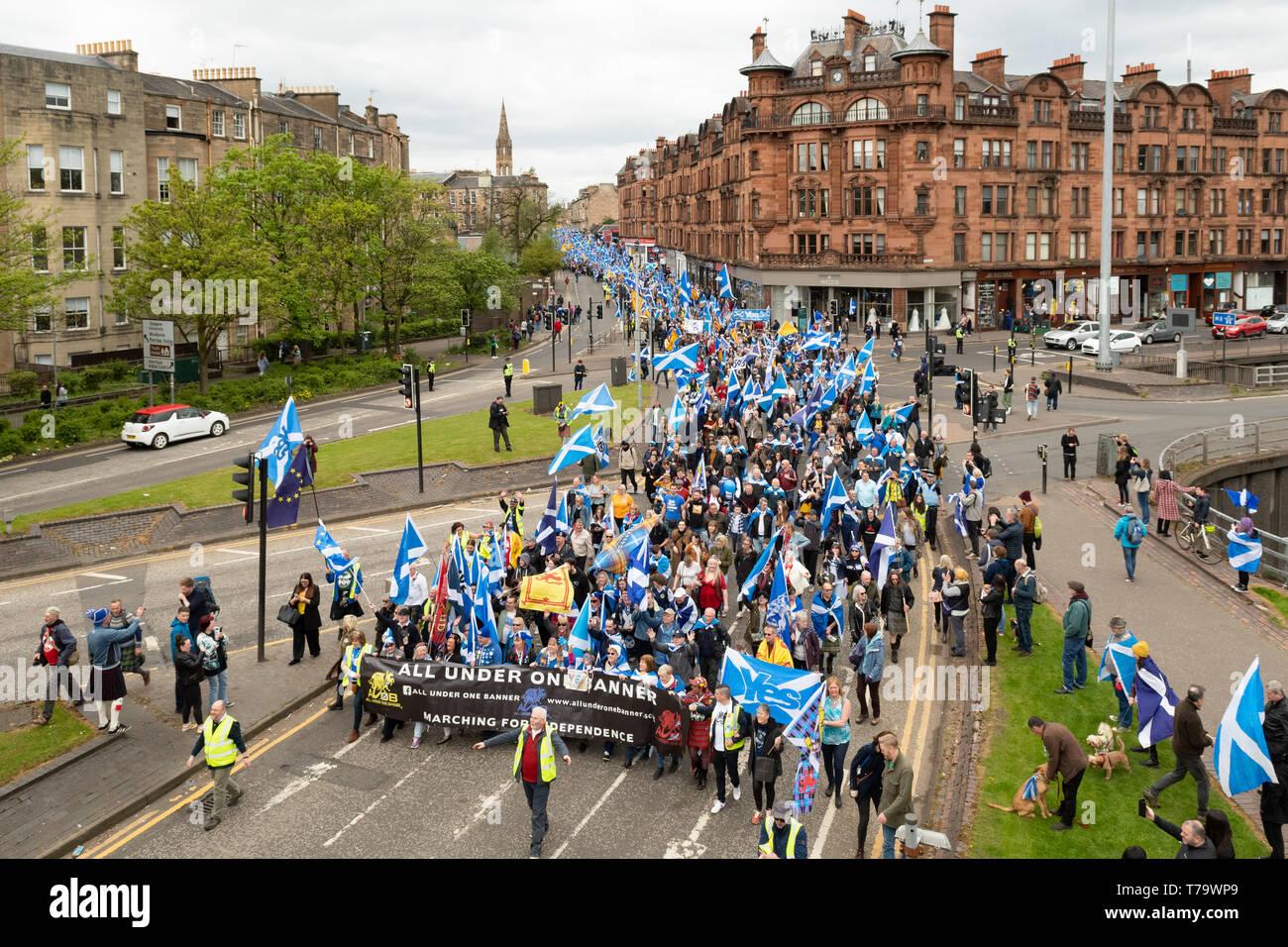 Alle unter einem Banner organisierten Marsch für die schottische Unabhängigkeit - Glasgow 2019 Stockbild