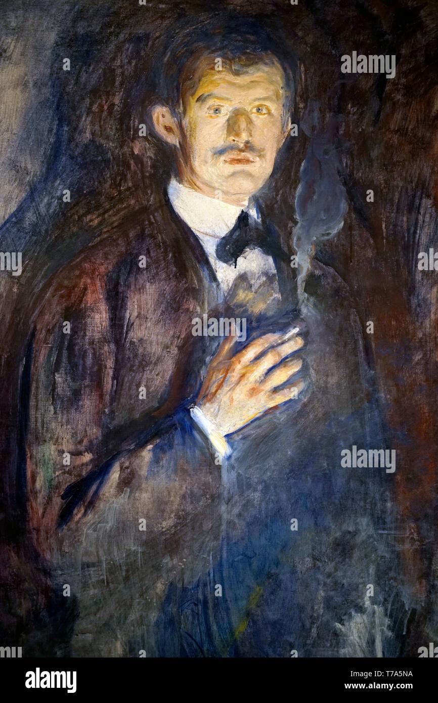 Eine geschlossene der Selbstporträt mit Zigarette (1895) von Edvard Munch in Sammlung von nasjonalmuseet für Kunst, Arkitektur og Design. Oslo, Norwegen Stockbild