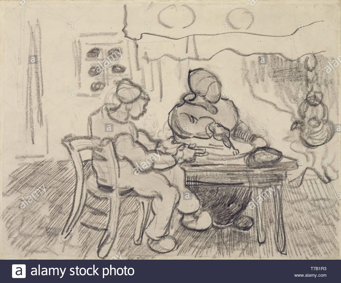 Vincent van Gogh-Interieur met Twee etende Figuren Stockbild