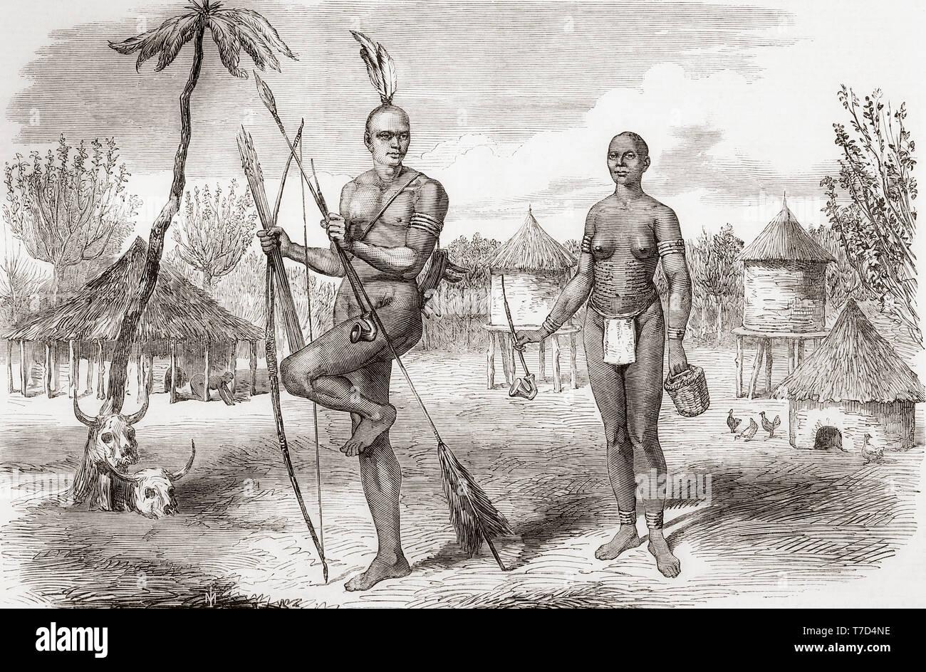 Homestead der Eingeborenen von Gondokoro, Sudan, Zentralafrika. Von der Illustrated London News, veröffentlicht 1865. Stockbild