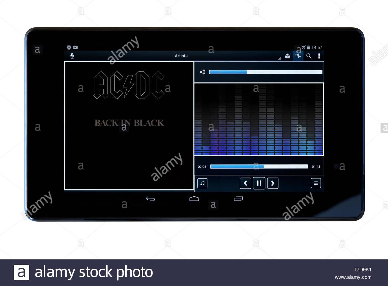 Ac Dc Back In Black Mp3 Album Art Auf Pc Tablet England Stockfotografie Alamy