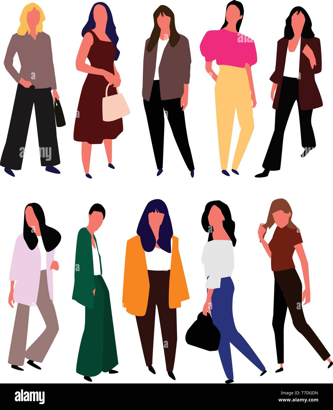 Schone Junge Frauen In Mode Kleidung Vektor Stock Vektorgrafik Alamy