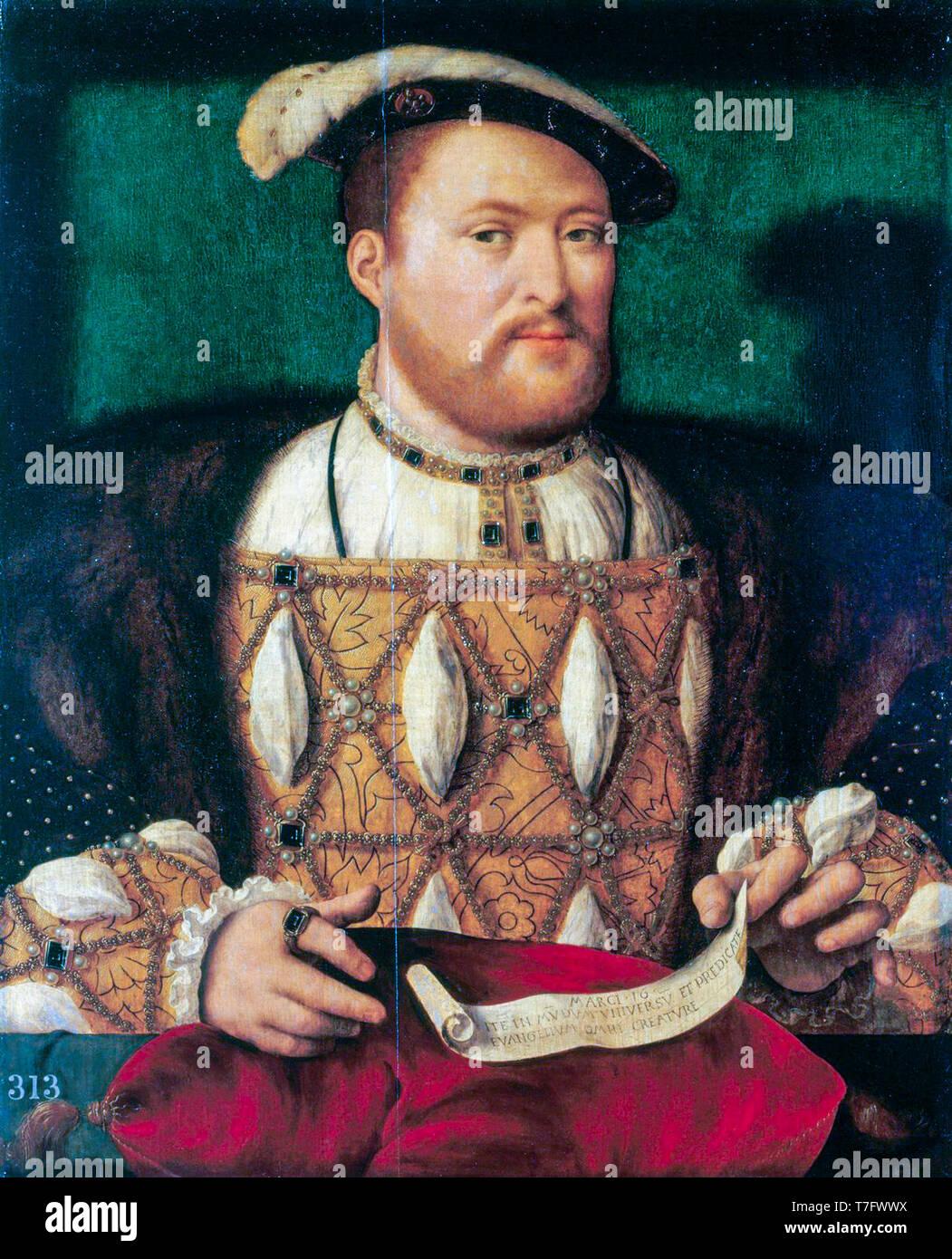 Joos van Cleve, König Heinrich VIII. von England (1491-1547), Porträt Malerei, C. 1530 Stockfoto