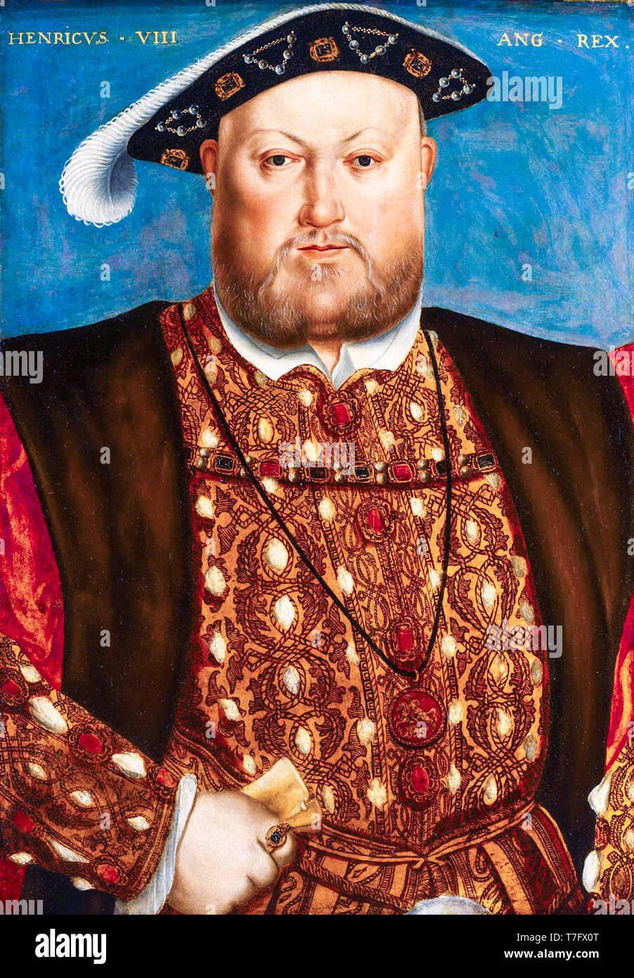 König Henry VIII (1491-1547) Portrait Malerei, Nachdem Hans Holbein, 16. Jahrhundert Stockfoto