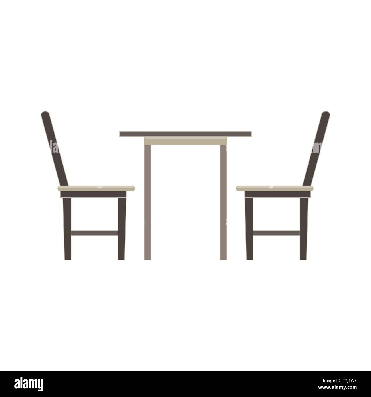 Vektor Tisch Stuhl Zwei Flache Symbol Isoliert Restaurant