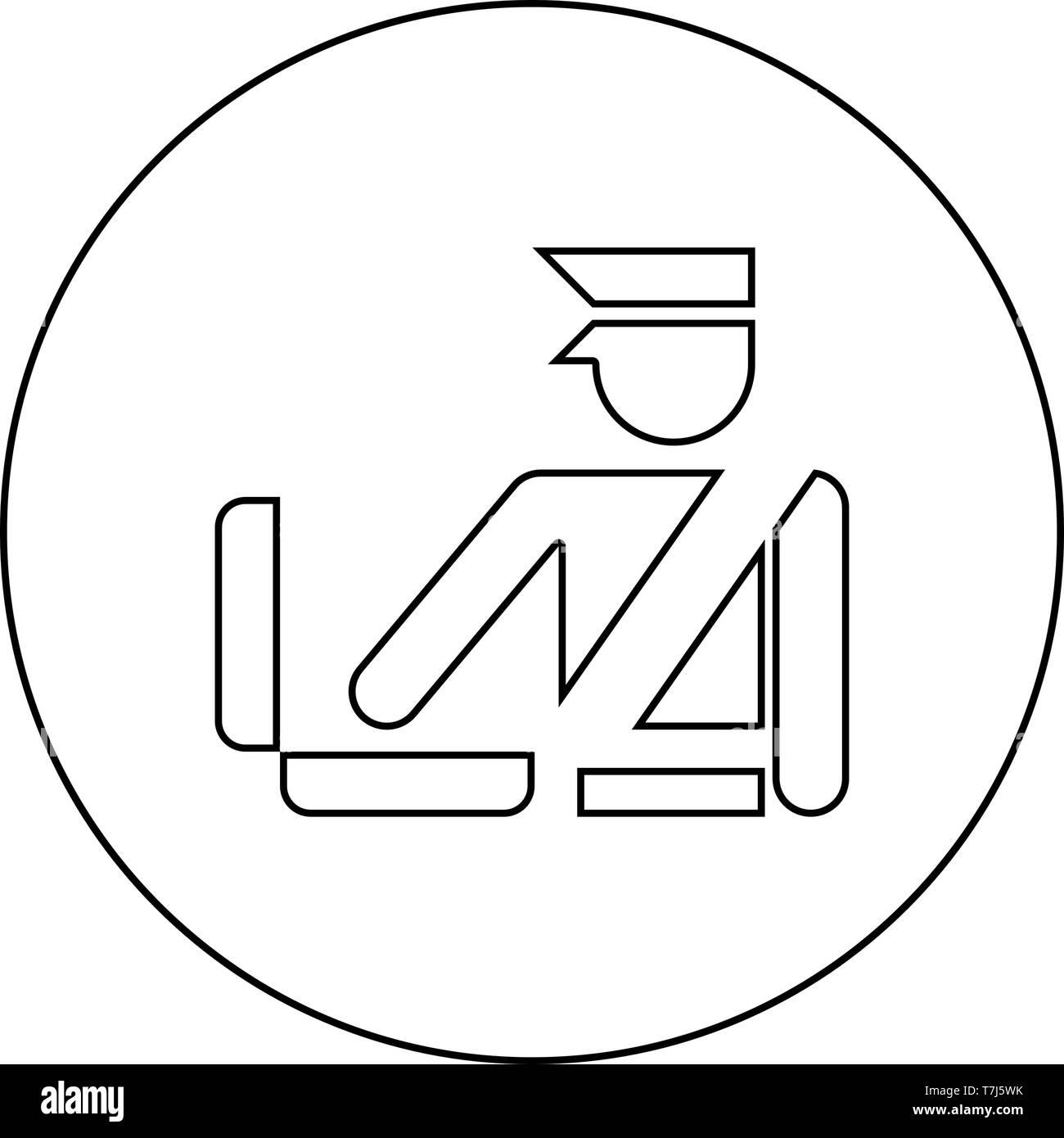 Grenzkontrollen Konzept Zollbeamte prüfen Gepäck detaillierte Gepäckkontrolle Handgepäckkontrolle zeichen Symbol im Kreis runde Kontur schwarz Vektor Stockbild