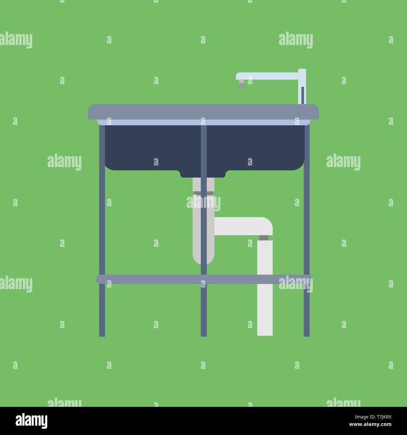Badezimmer Waschbecken flachbild Symbol Wasserhahn ...