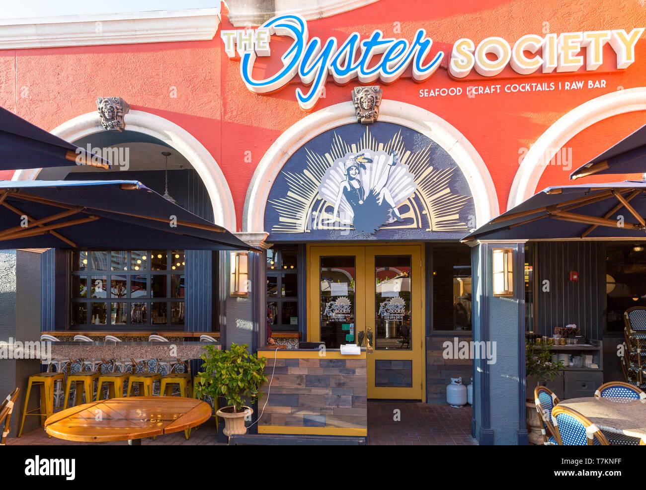 Eingang des Oyster Restaurant Society auf Marco Island, Naples, Florida, USA Stockbild