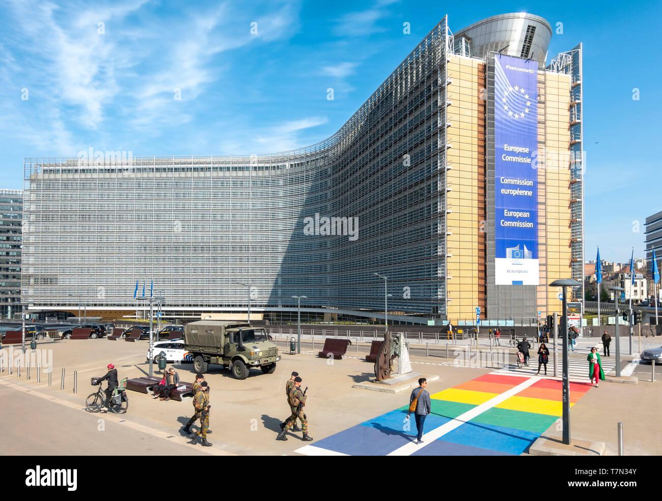 Brüssel Berlaymont Gebäude. Sitz der Europäischen Kommission, EG, die Exekutive der Europäischen Union, EU. Brussel Bruxelles Belgien Europa Stockbild