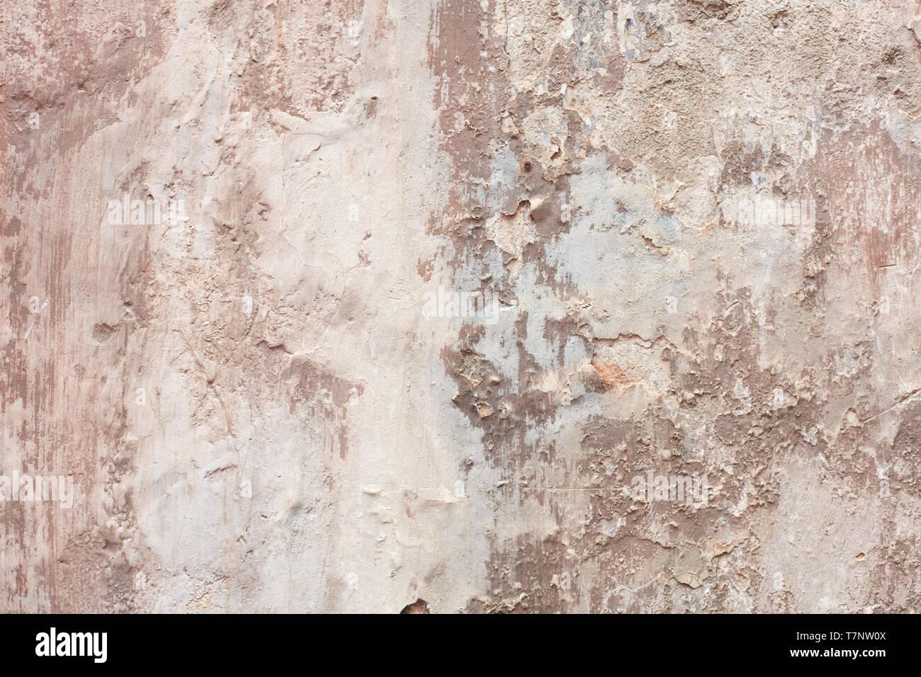 Alte beige abgesplitterte Wand Textur Hintergrund Stockbild
