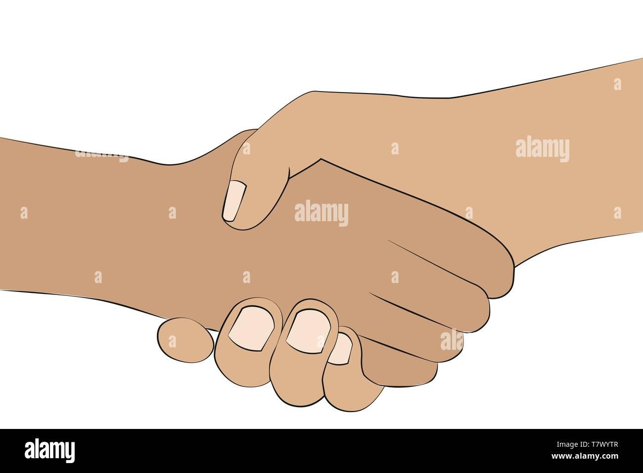 Handshake zwei Menschen Hände schütteln auf weißem Hintergrund Vektor-illustration EPS 10 isoliert Stock Vektor