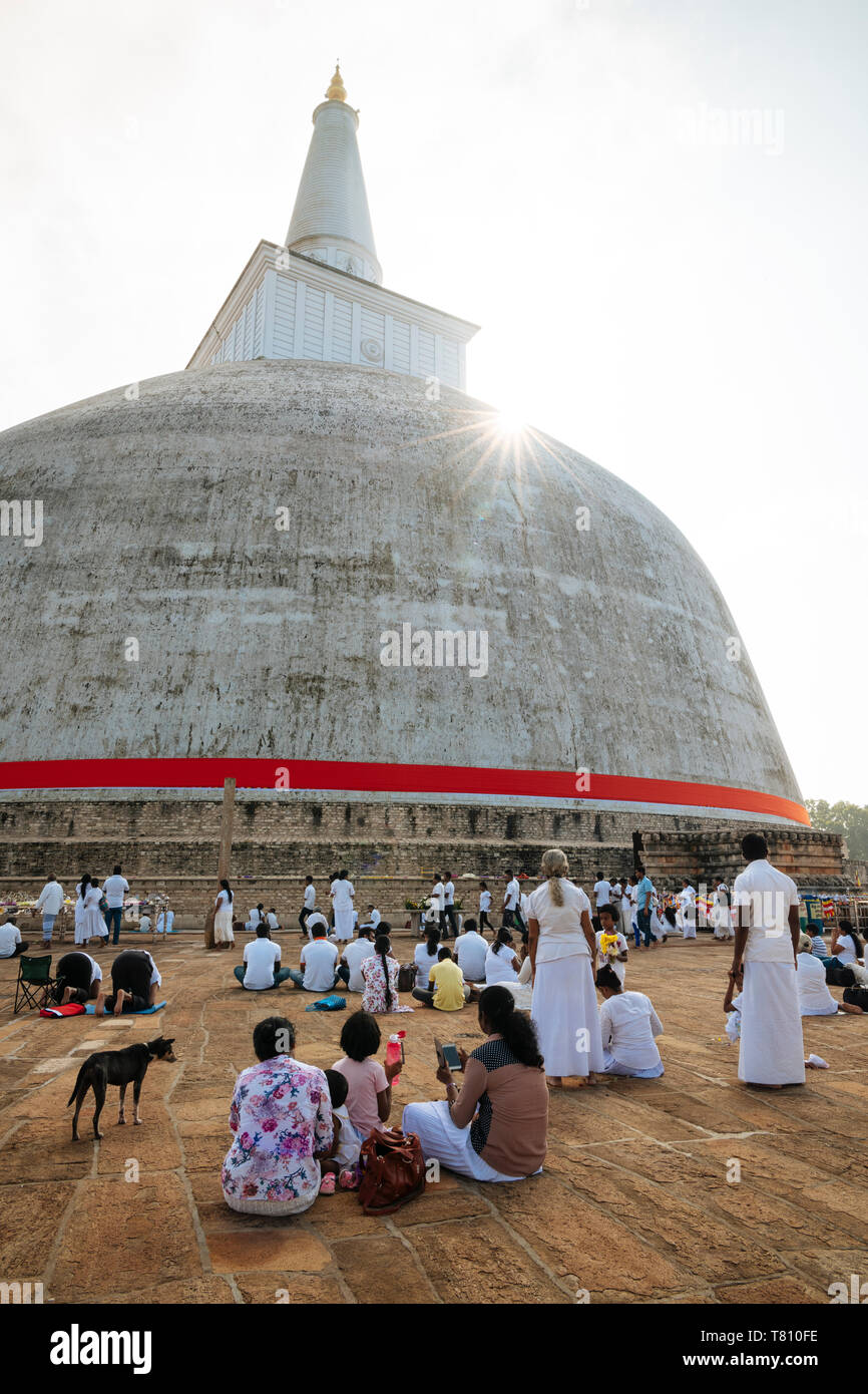Saya ruwanweli Dagoba (Golden Sand Stupa), Anuradhapura, UNESCO-Weltkulturerbe, North Central Province, Sri Lanka, Asien Stockbild