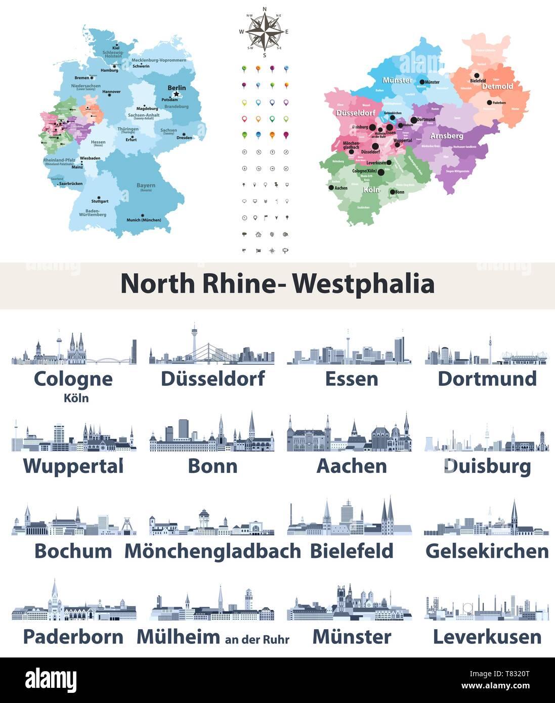 Deutschland Bundesland Nordrhein Westfalen Hoch Detaillierte