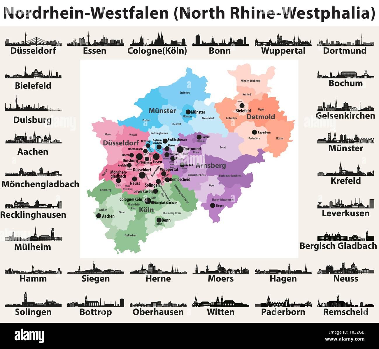 Deutschland Bundesland Nordrhein Westfalen Vektor Karte Mit Den