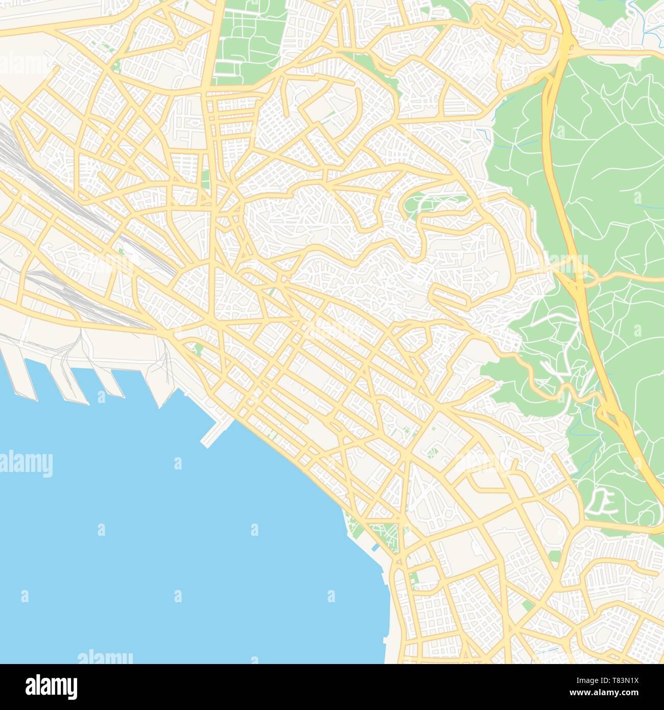 Thessaloniki Karte.Druckbare Karte Von Thessaloniki Griechenland Mit Haupt Und