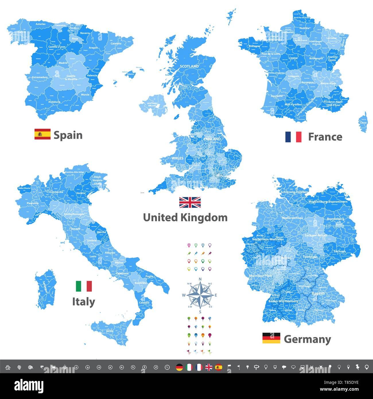 High Ausfuhrliche Vektor Karten Von Grossbritannien Italien