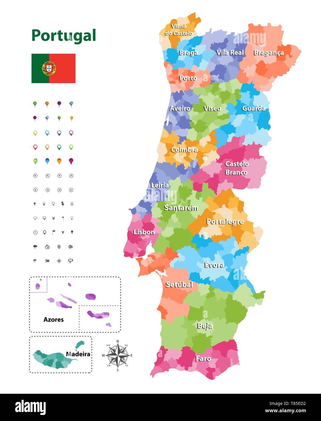 Waldbrände Portugal Karte.Distrikte Von Portugal