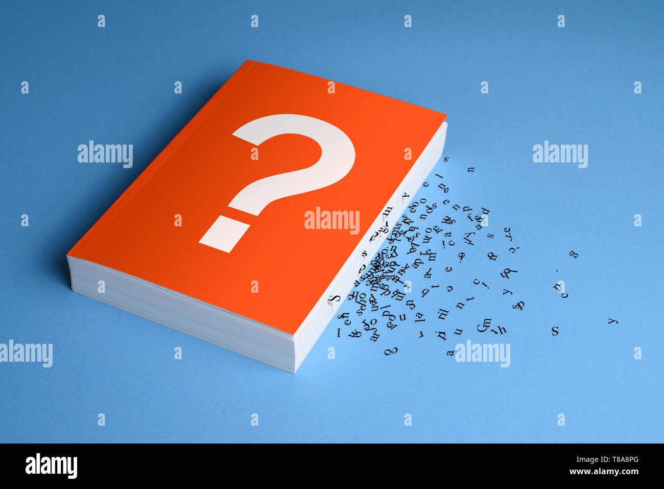 Konzept der Verlust der Bedeutung des Textes. Missverständnis des Buches und des Mangels an Informationen Stockbild