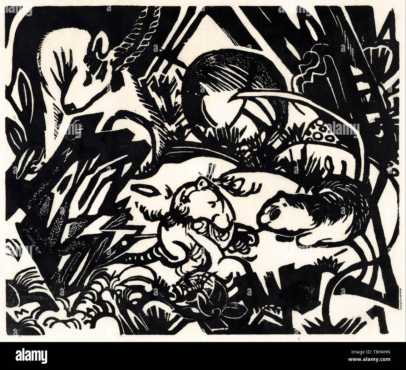 Franz Marc, Tier Legende, Holzschnitt, 1912 Stockbild