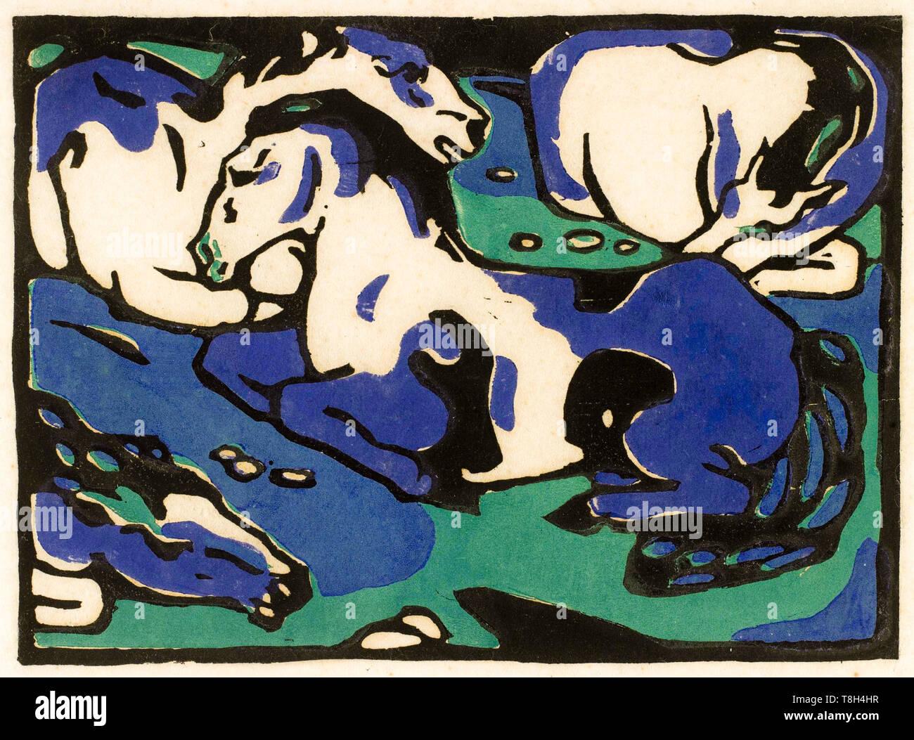 Franz Marc, Pferde, Holzschnitt, 1911 Stockbild