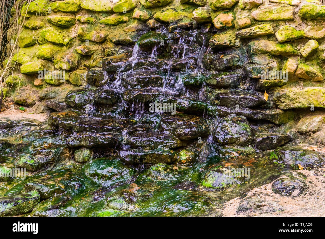 Kleiner Wasserfall In Einem Garten Wasser Streaming Uber