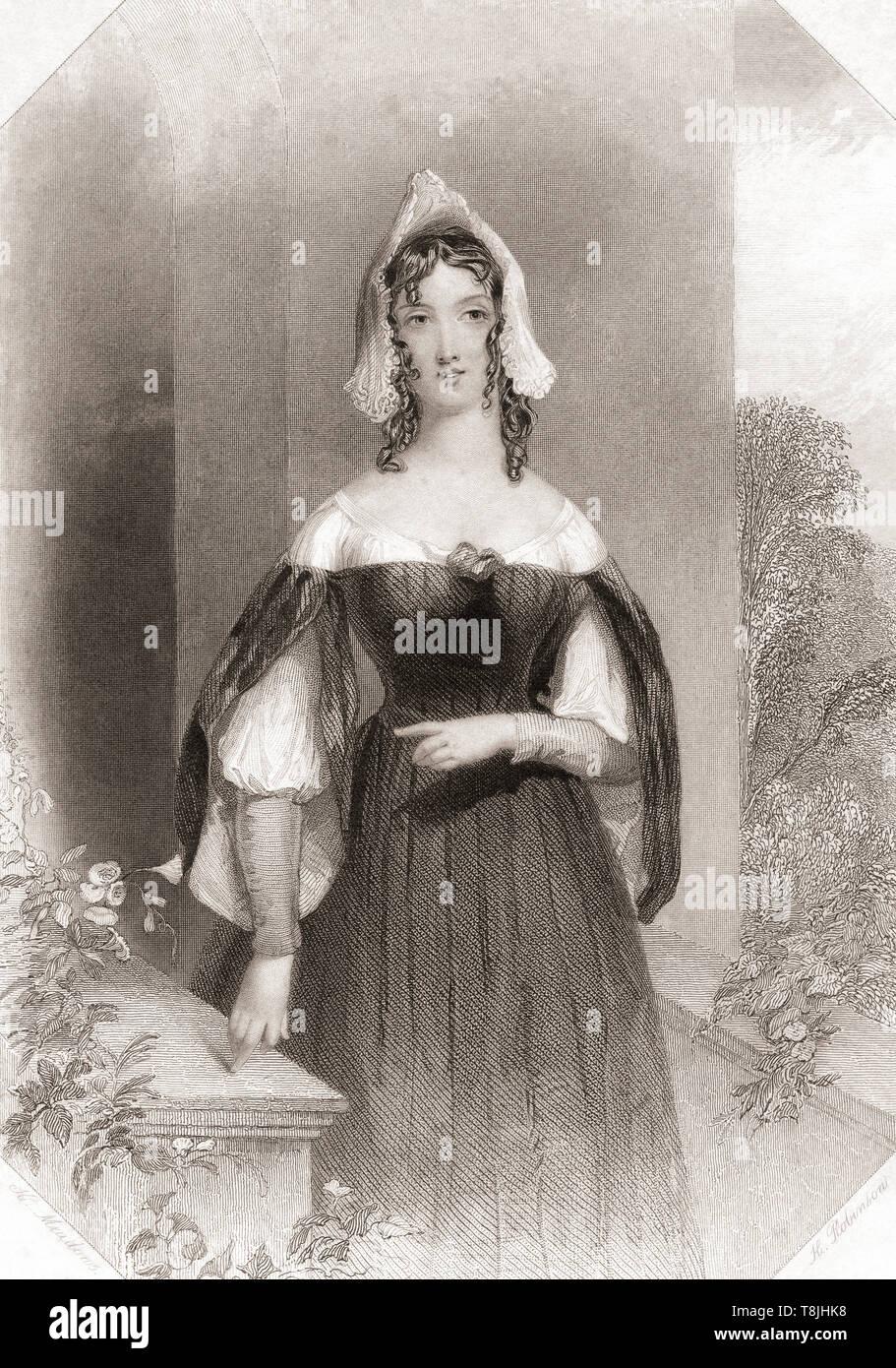 Anne Seite. Wichtigste weibliche Figur aus Shakespeares Die lustigen Weiber von Windsor. Von Shakespeare Gallery, veröffentlicht C 1840. Stockbild
