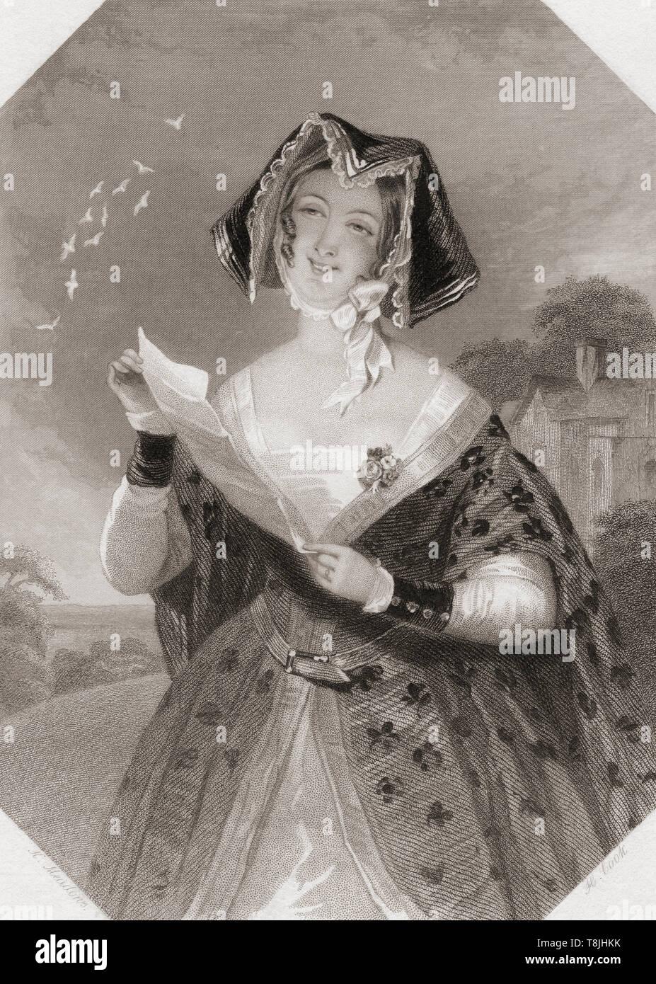 Frau Ford. Wichtigste weibliche Figur aus Shakespeares Die lustigen Weiber von Windsor. Von Shakespeare Gallery, veröffentlicht C 1840. Stockbild