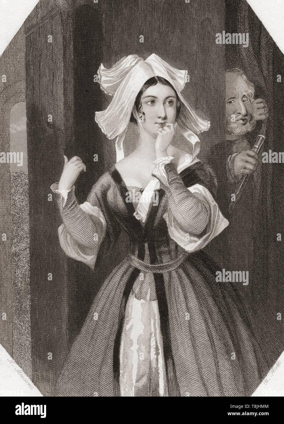 Frau Seite. Wichtigste weibliche Figur aus Shakespeares Die lustigen Weiber von Windsor. Von Shakespeare Gallery, veröffentlicht C 1840. Stockbild
