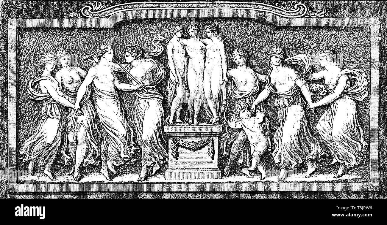 Literatur und Kunst Allegorie mit dem griechischen Musen, typografische Elemente von Salomon Gessner 18. Stockbild
