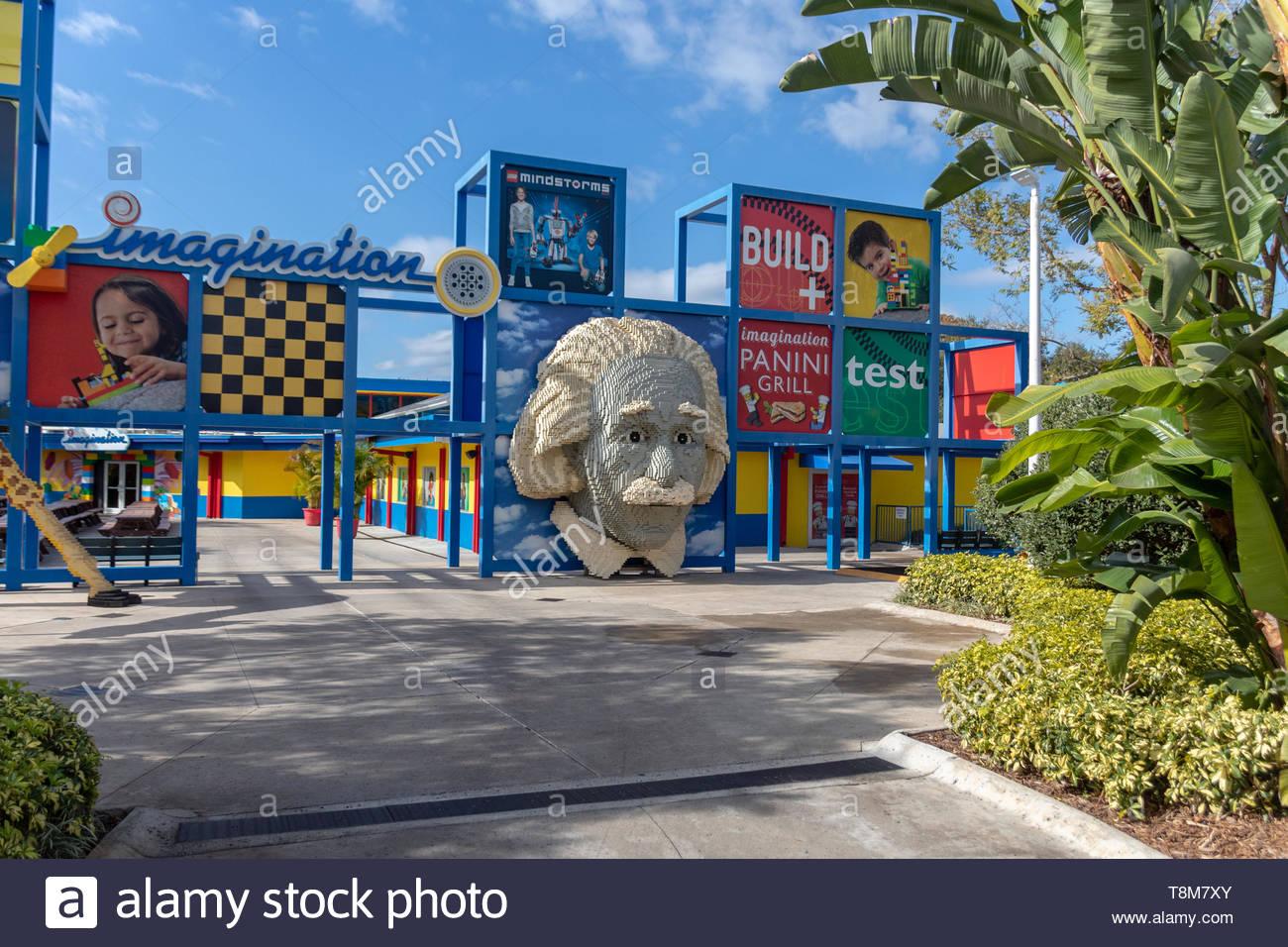 Winter Haven, Florida USA - Januar 22, 2019: LAND DER ABENTEUER Attraktionen und Fahrgeschäfte, Legoland Florida am Januar 22, 2019, im Winter Haven, FL Stockfoto