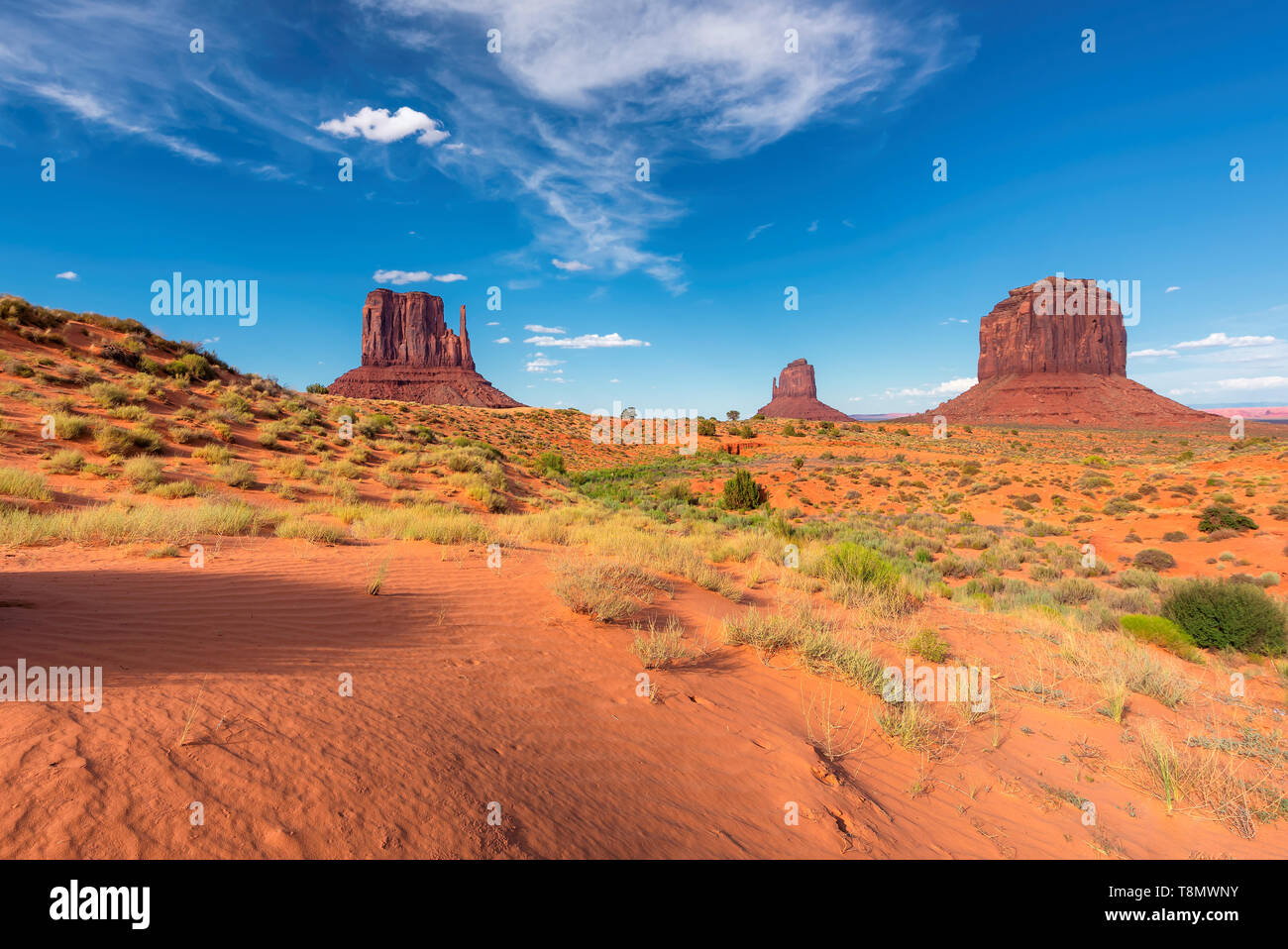 Sanddünen der Wüste im Monument Valley in Arizona, USA. Stockfoto