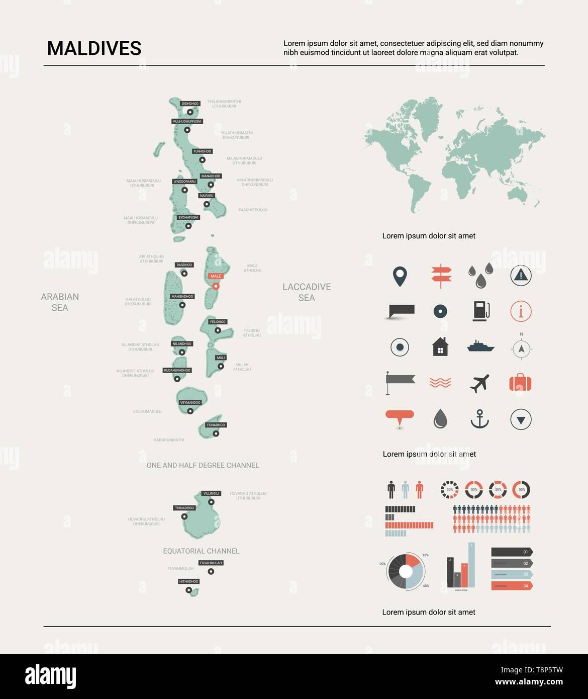Malediven Karte Weltkarte.Vektorkarte Der Malediven Land Karte Mit Abteilung Städten Und Der