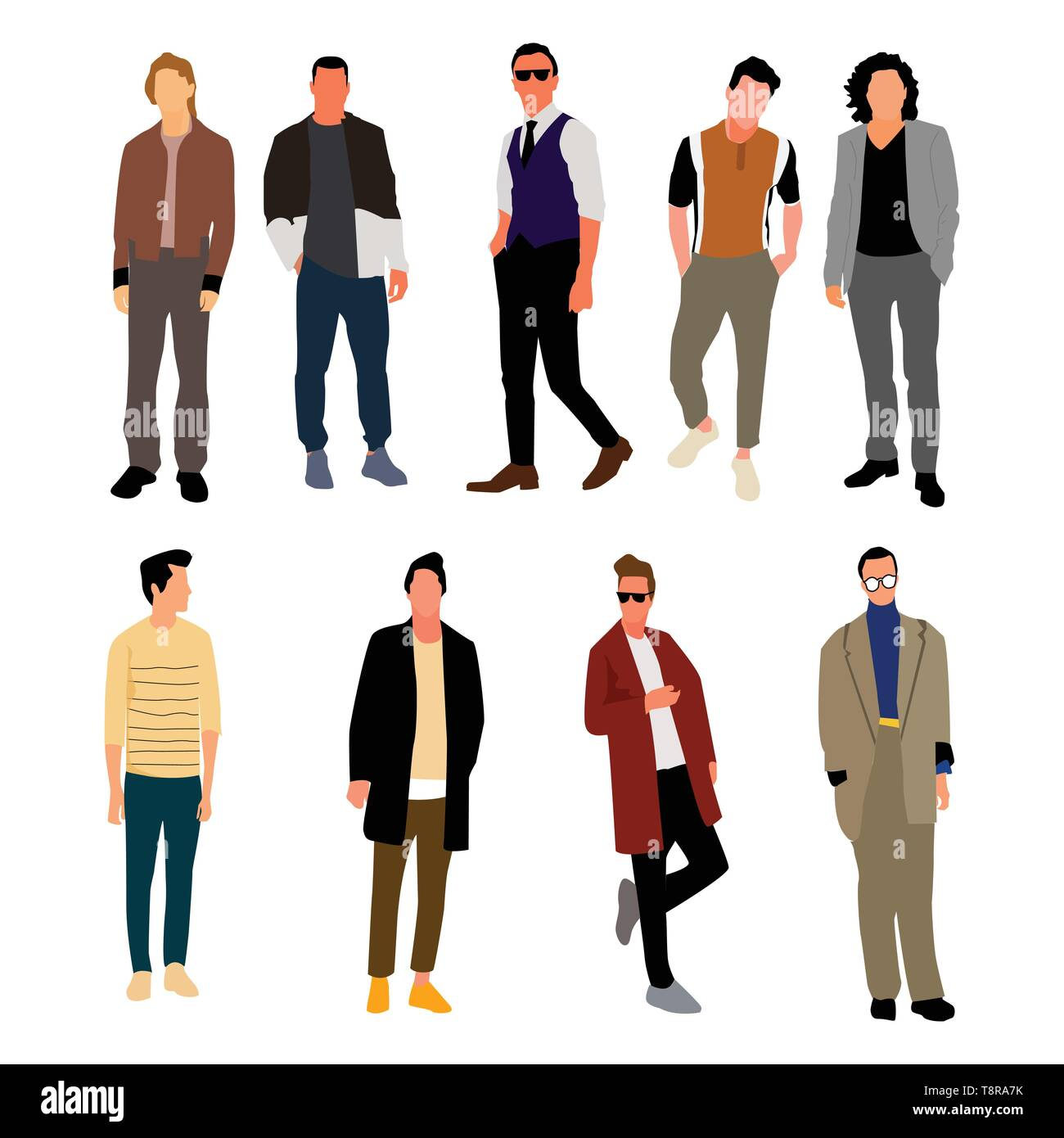 outlet store f1fc5 ba818 Einstellen der jungen Männer in der Mode Kleidung. Vektor ...