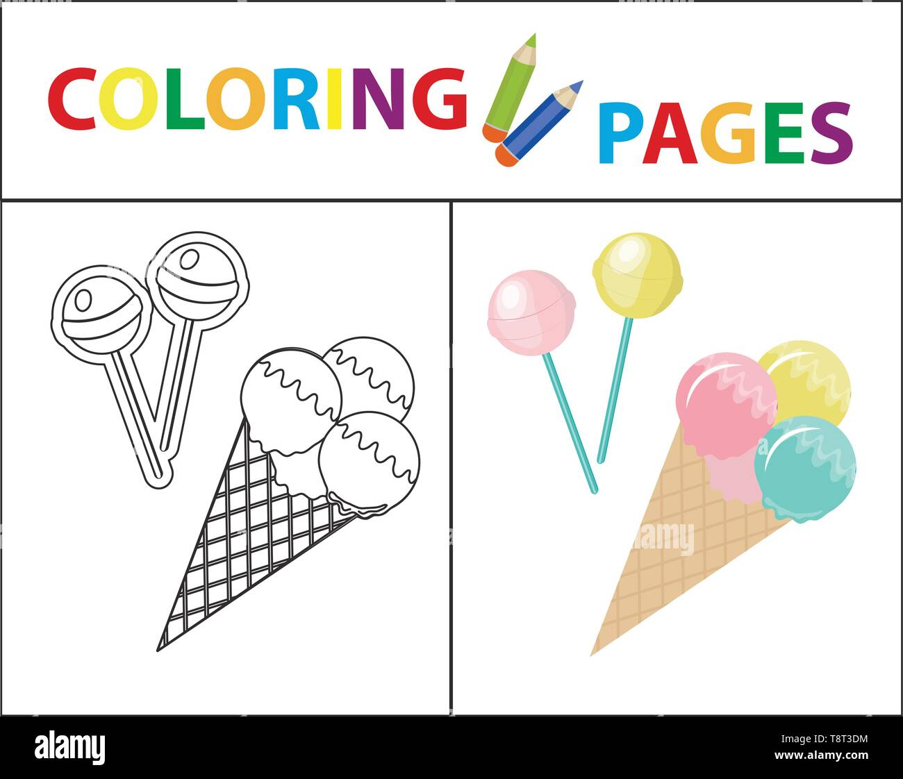 Ice Cream Coloring Book Line Stockfotos & Ice Cream Coloring ...