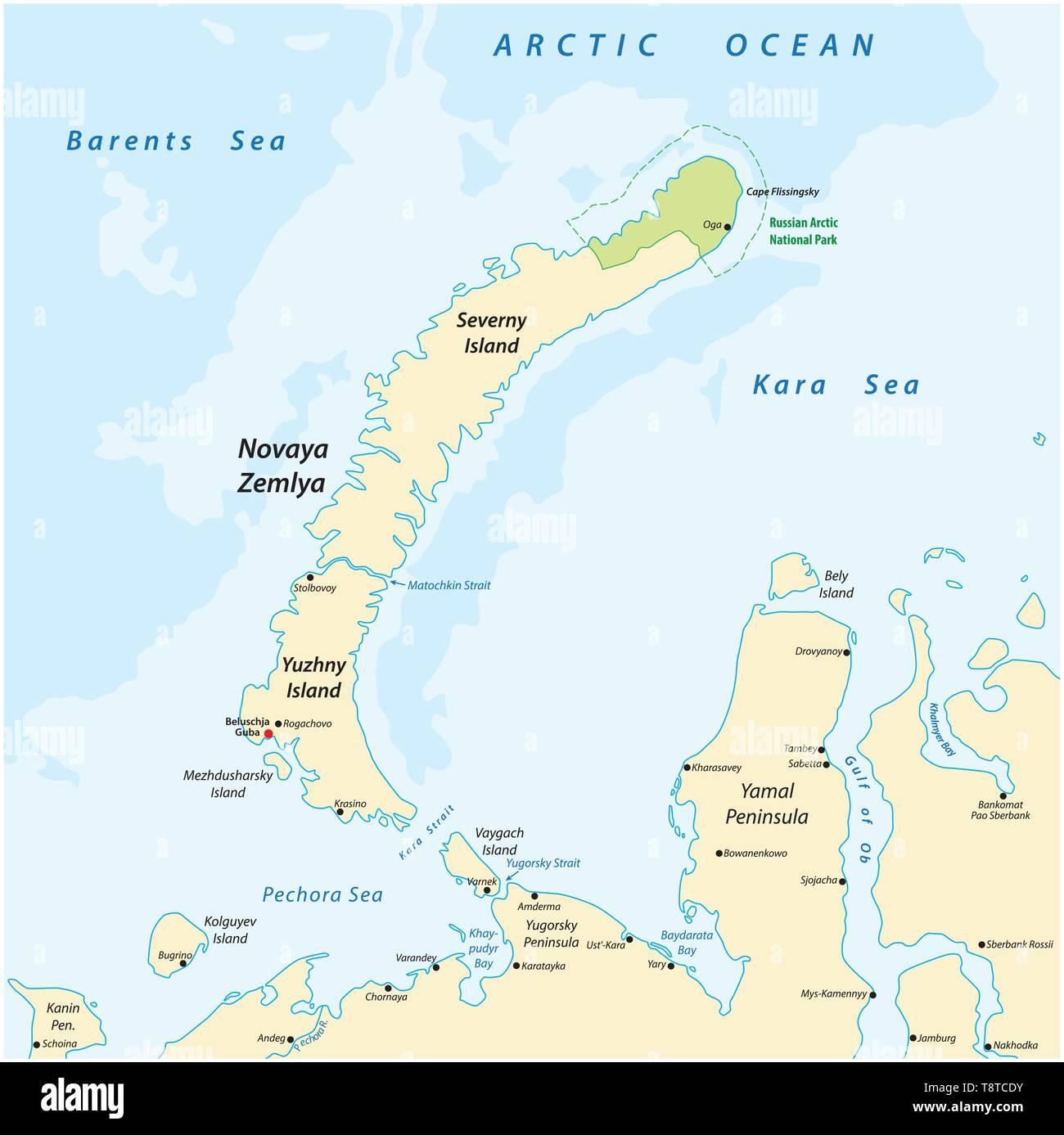 Karte des Archipels Nova Semlja im Arktischen Ozean im Norden Rußlands Stock Vektor