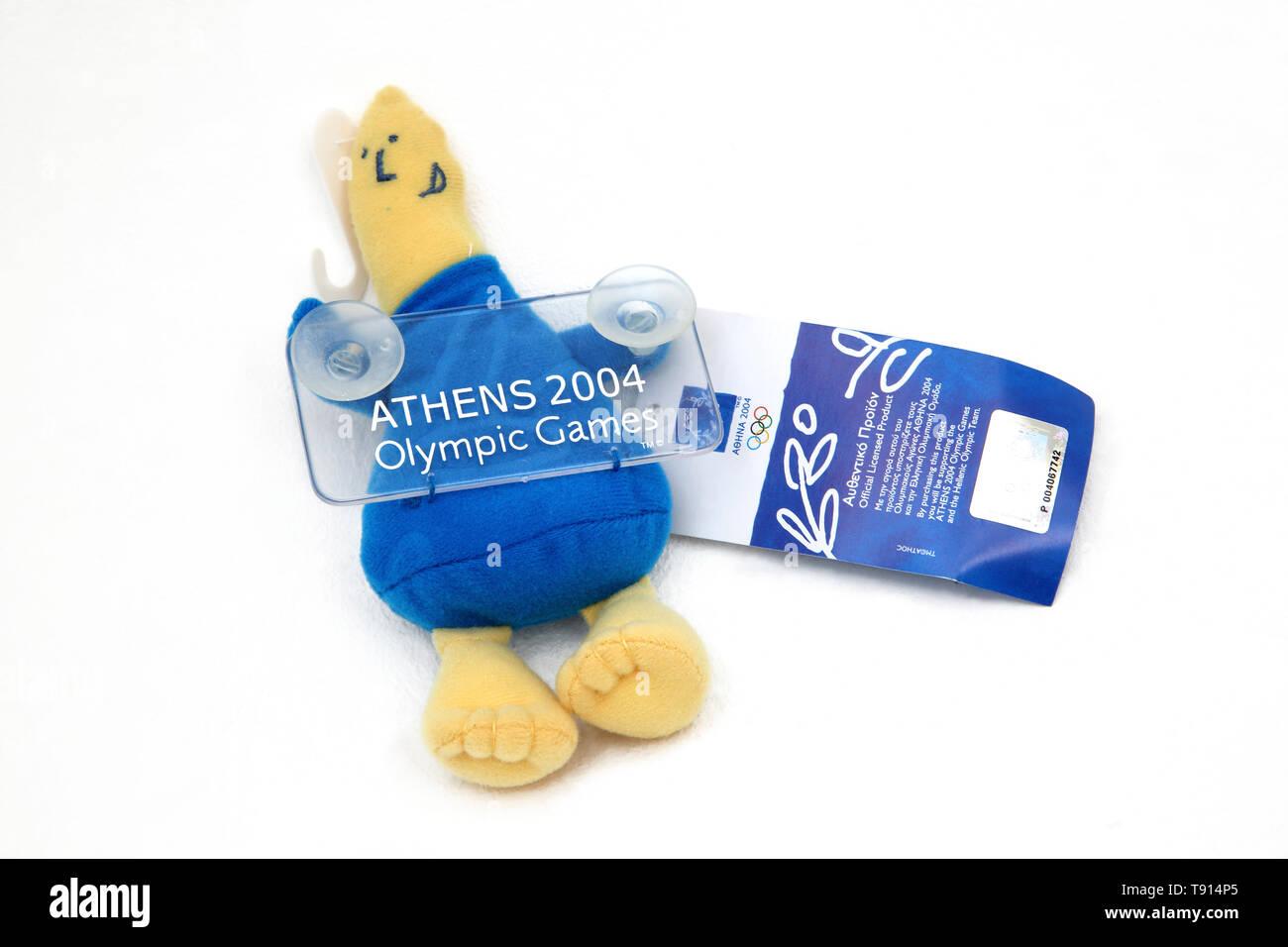 Auto Fenster Sucker Phevos Maskottchen der Olympischen Spiele 2004 in Athen Stockbild