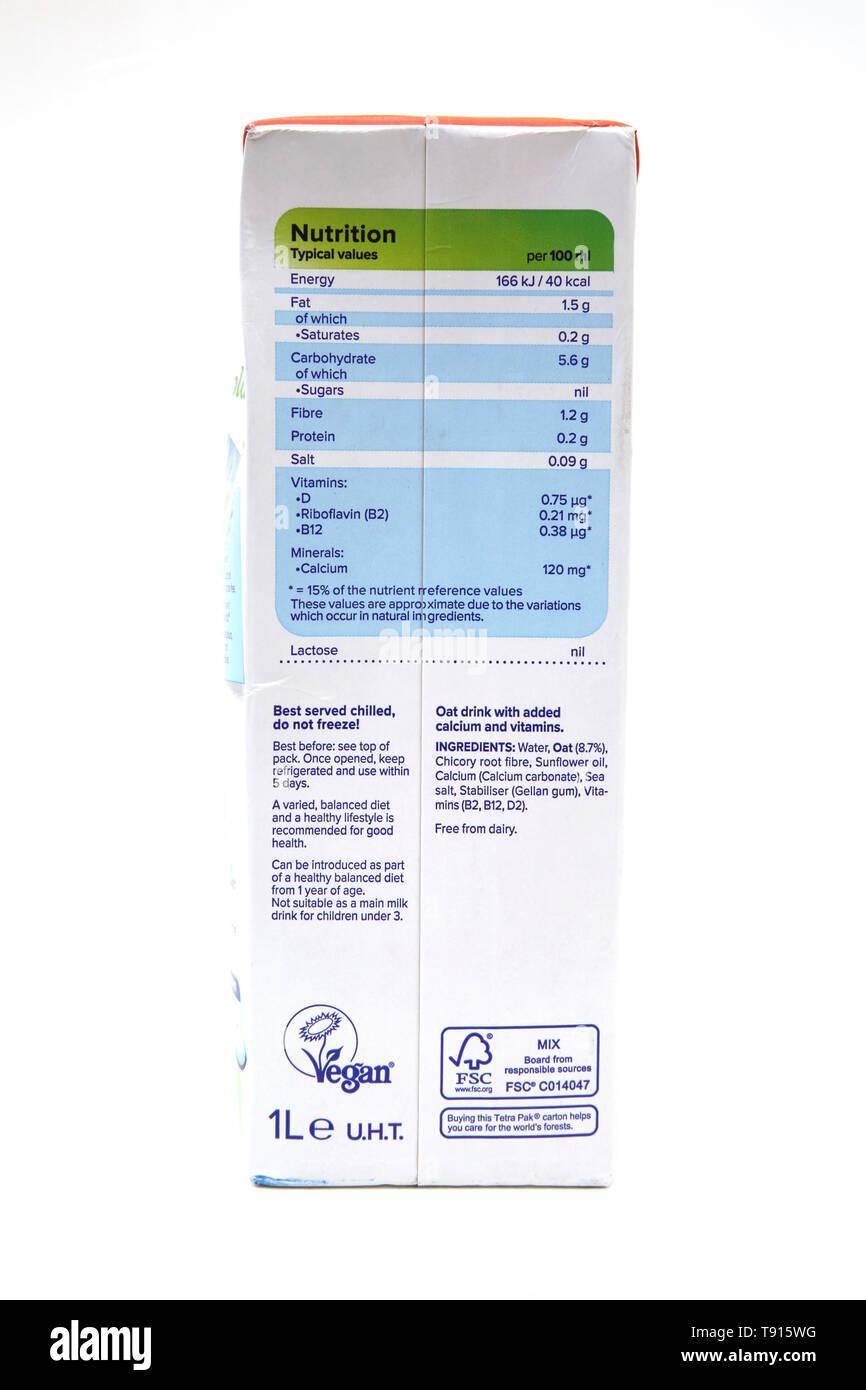 Vegan Alpro Hafer Laktosefreie Milch Alternative Nährwertangaben Stockbild