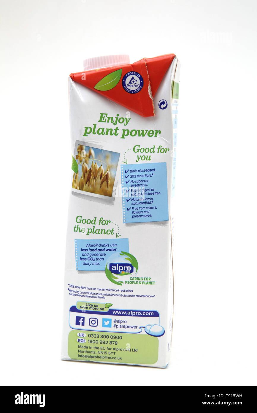 Vegan Alpro Oat ungezuckerte Laktosefreie Milch Alternative Stockbild