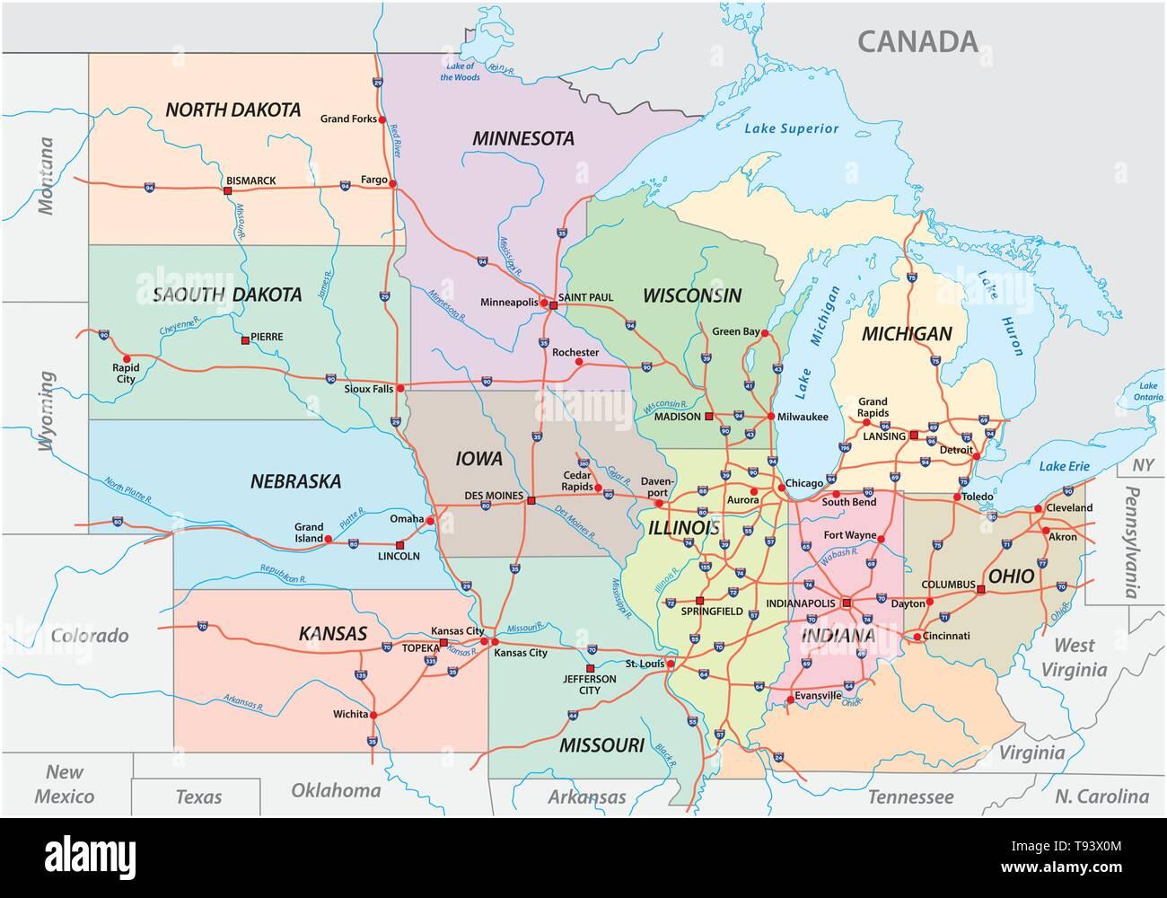 Karte Von Den Mittleren Westen Der Vereinigten Staaten Von Amerika