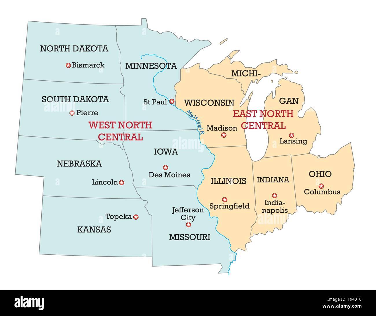 Karte von den Mittleren Westen der Vereinigten Staaten von Amerika Stockbild