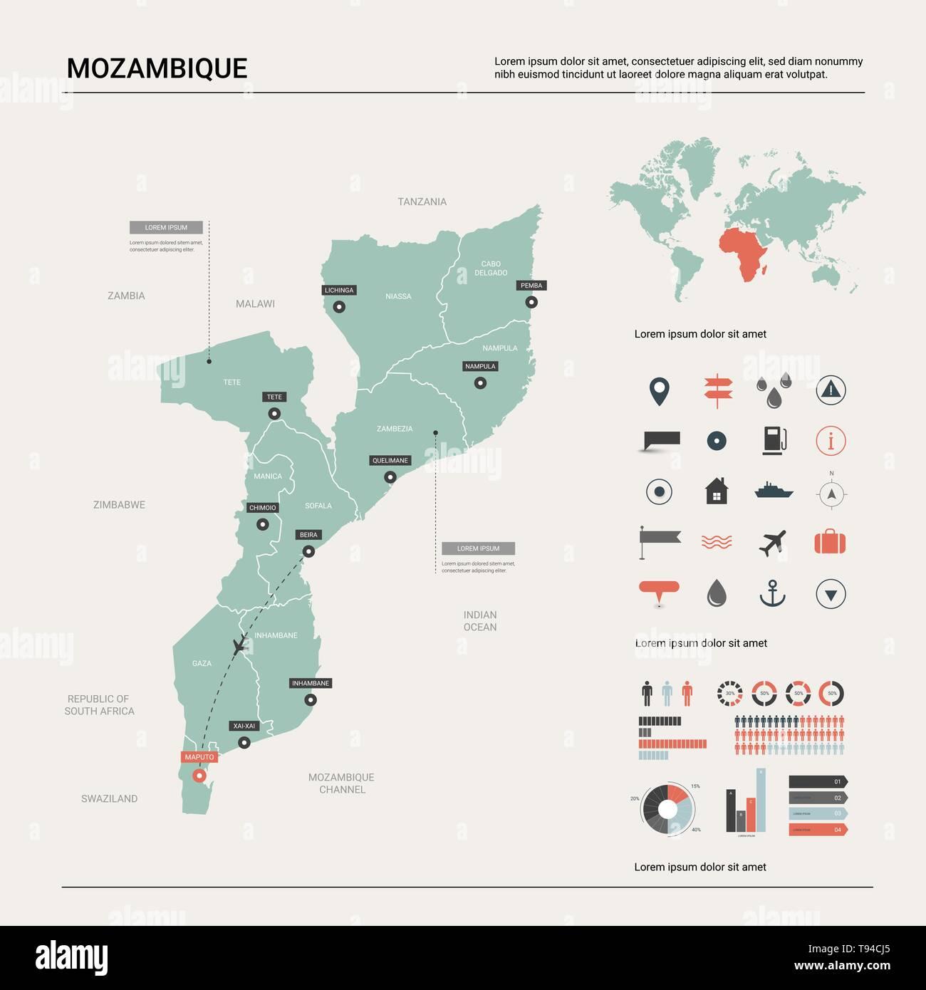 Mosambik Karte.Mozambique Political Map Capital Maputo Stockfotos Mozambique