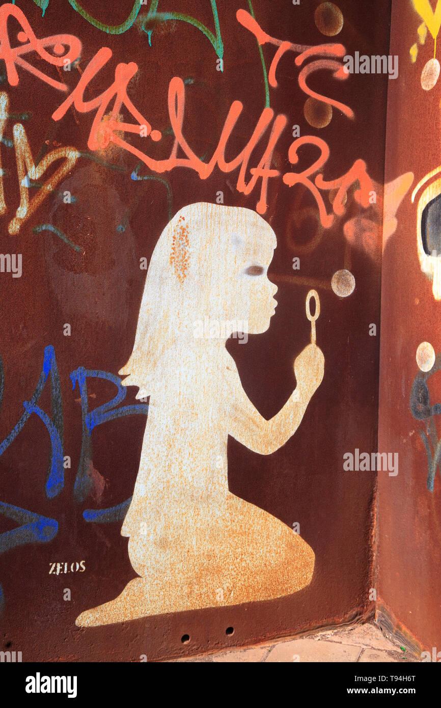 Graffiti vor den Deichtorhallen, Hamburg, Deutschland, Europa Stockbild